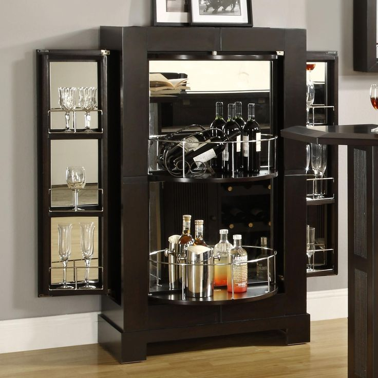 Liquor Cabinet With Curve Bottle Shelves And Glass On Right Left Side Appealing Corner Bar Design Ideas Furniture Living Room
