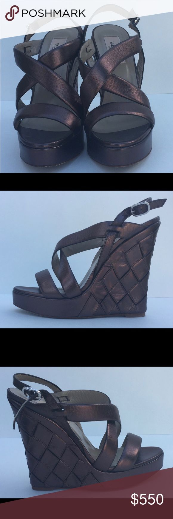 Gorgeous Valentino Wedge Sandals metallic brown 36 Gorgeous* lightly worn * excellent condition* it's a unique color a bronze brown.  Just stunning.  These are comfortable and will class up any outfit. Original price from Saks was 1499.00 Valentino Shoes Wedges