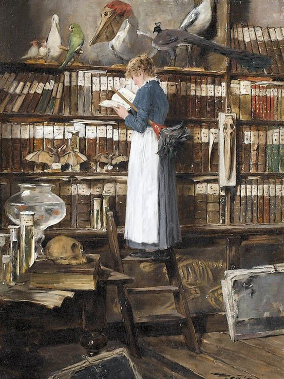 Edouard John Mentha painted this image of a maid sneaking a look in a book while she dusts a library/taxidermy fiesta.