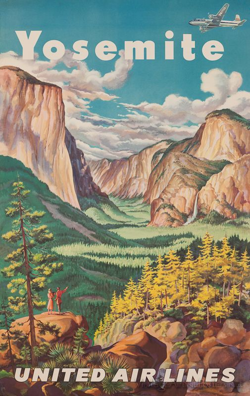 Luv! Vintage United Airlines Travel Poster:  Yosemite National Park, California