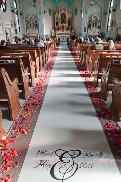 Carolyn, We don't know how the pews look because the church is being remodeled, so if we can't hang flowers or anything on them, something like this is beautiful too, and simple.