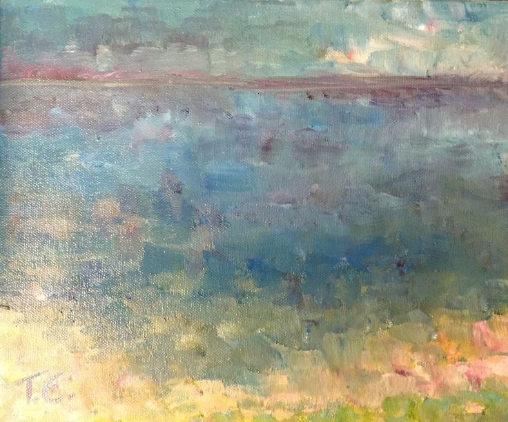 """Free After Winter, (""""Kevättäilmassa vapaatavettä""""), Waterscape Oil Painting 2016/04"""