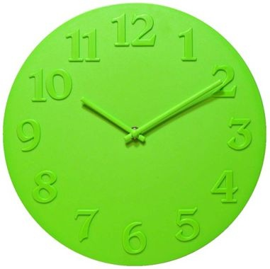 "Vogue Lime Green 11 3/4"" Wide Round Wall Clock"