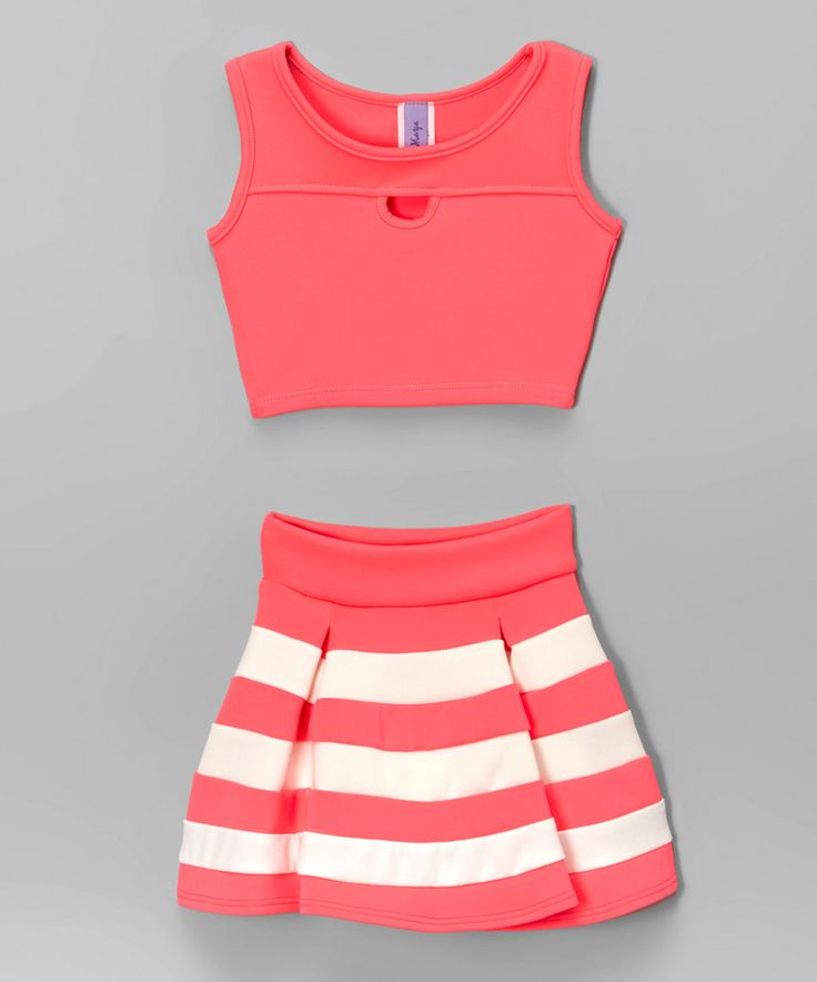 Neon Pink Cutout Crop Tank & Stripe Pleated Skirt - Girls by Maya Fashion #zulily #zulilyfinds