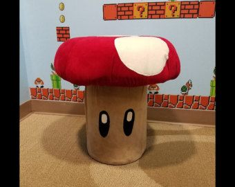 Red mushroom, Gamer, Themed Mushroom Stool, Mushroom Chair, Large Custom Game Room Furniture