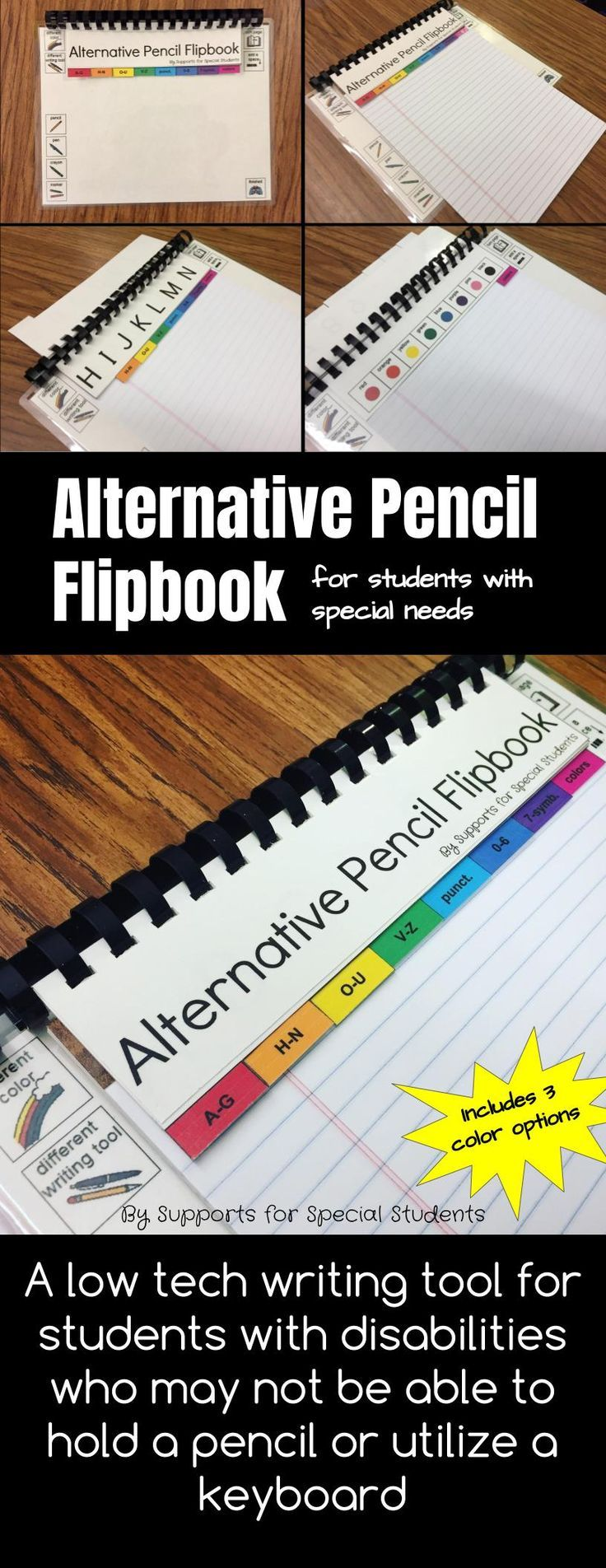 Alternative Pencil Flipbook by Supports for Special Students - This low tech writing tool for students with special needs is a must have piece of assistive technology for the special education classroom.