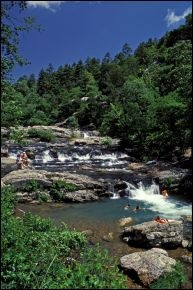 Ouachita National Forest: Little Missouri Falls - Small but scenic cascading waterfalls on the Little Missouri River. From Hot Springs, go west on U.S. 70 to Glenwood, continue to Salem. At Salem, turn right (west) on Ark. 84 to Langley & head north on Ark. 369 & follow signs to the falls. Several miles of gravel roads are required to reach the area but the walk to the falls is easy. #Arkansas #Ouachita #Hot_Springs #waterfall #falls #hiking #trails #national_forest #vacation #camping #South