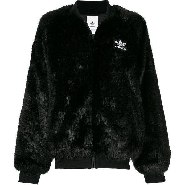 697144248 Adidas Originals faux fur bomber jacket (4.458.305 IDR) ❤ liked on Polyvore  featuring outerwear, jackets, black, raglan jacket, faux fur jacket, adidas  ...