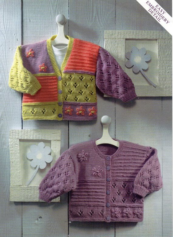 baby cardigans knitting pattern baby girls childrens jackets embroidered newborn 16-26 inch DK baby knitting patterns pdf instant download