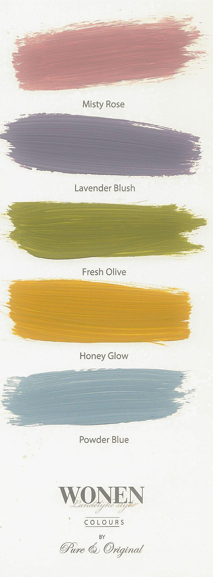 5 new colors Wonen Landelijke Stijl by Pure & Original. leverbaar in Kalkverf, Krijtverf, Marrakech Wall en lak op waterbasis.