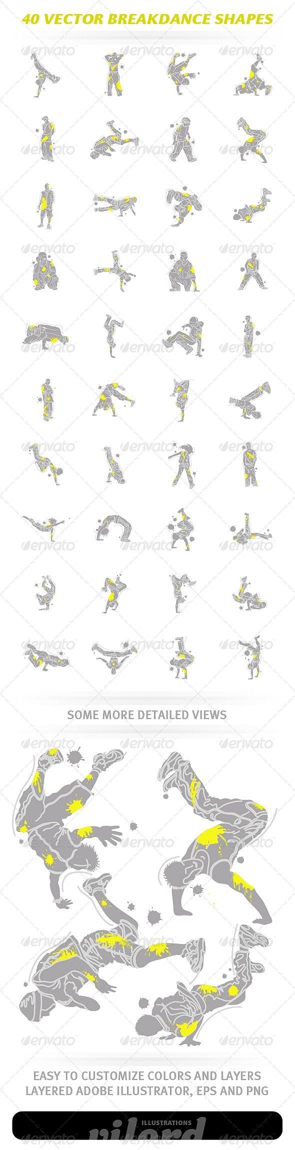 40 Vector Breakdance Shapes