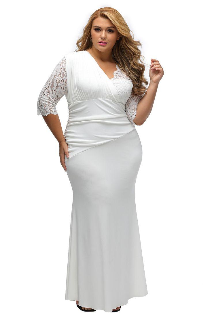 Robe De Mariage Blanc Dentelle Elegant Demi-Manches Femme Full-figured Pas Cher www.modebuy.com @Modebuy #Modebuy #Blanc #me #mode #gros