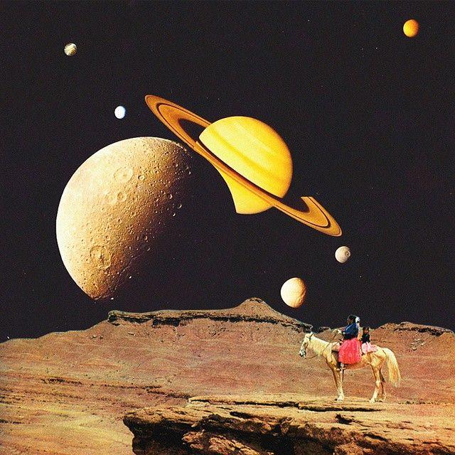 "Rare Wonderful 1950s Space Art: ""Western Space"" #art #collageart #space #dreams #dada"