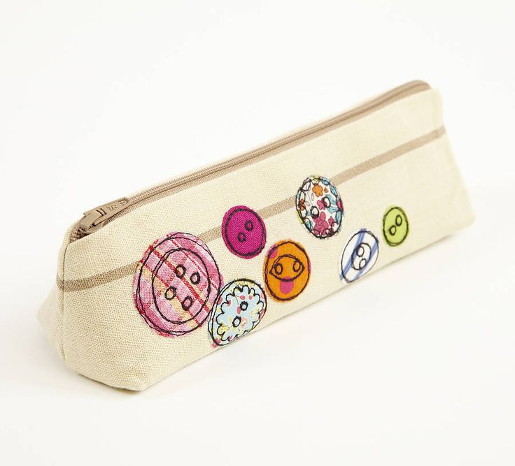 Embroidered Button Pencilcase  by Lizzie Searle