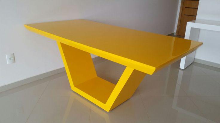 Mesa jantar amarela, mesa resina amarela