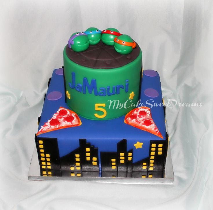 Ninja Turtles Birthday Cake - Vanilla Cake 6'' round cake 9'' x 9''  square cake pizza slice/ fondant ninja turtles / fondant marshmallow fondant