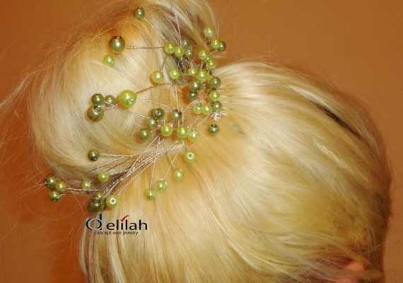 Green Wedding Hair Accessories Bridal Hair by BridalShopDelilah
