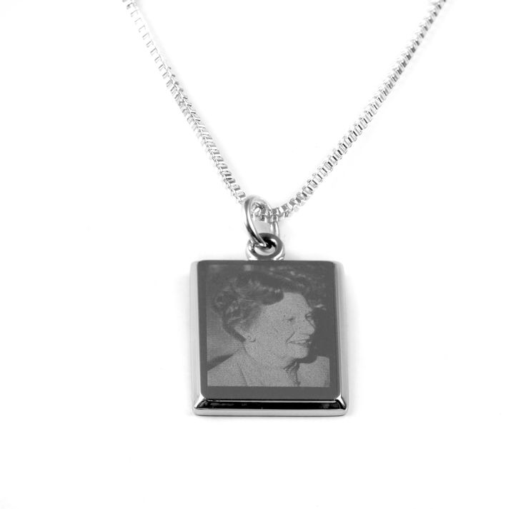 A very popular piece.  Wear it as a charm off a bracelet or as a necklace with YOUR photo engraved onto the piece.