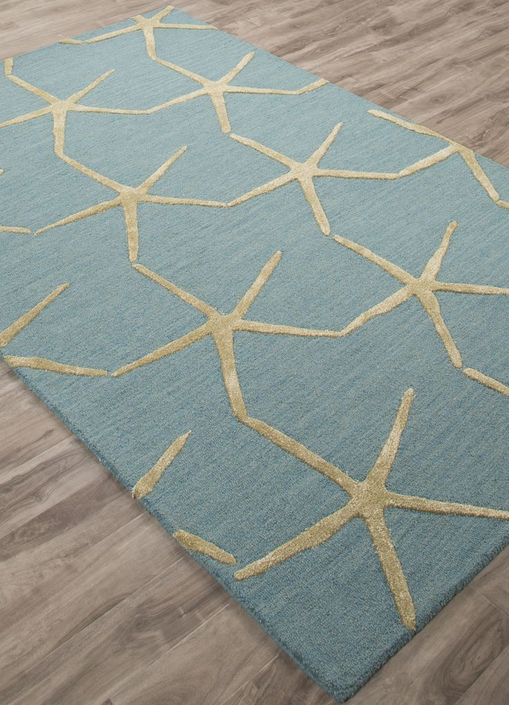 Aqua Blue Starfishing Hand Tufted Wool Area Rug