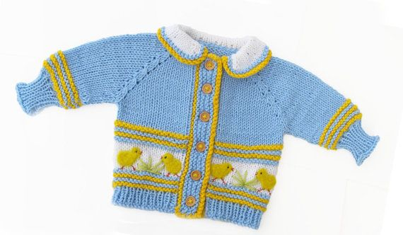 Cardigan with chicken for baby boy winter jacket by iziknittings, $32.00
