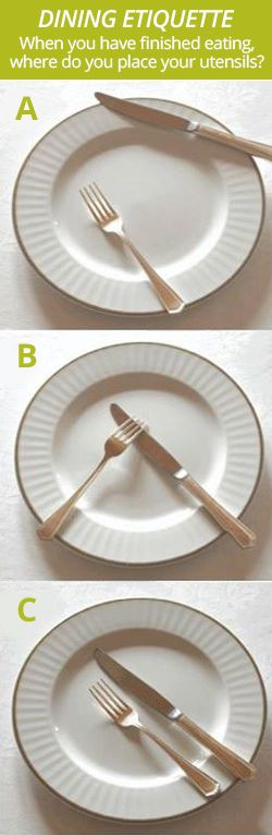 Dining with good manners is very important. When you have finished eating, where do you place your utensils? Click to check out the answer.
