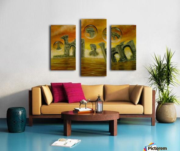 Fine Art, for sale, online,Triptych, 3 split,  stretched, canvas, multi panel, prints, painting,monuments,temples,ancient,historical,old,archeological,finds,antiquity,classic,statue,greek,godess,european,fantasy,scene,bubbles,seascape,water,sky,clouds,picturesque,whimsical,vibrant,vivid,colorful,orange,impressive,cool,beautiful,powerful,atmospheric,dreamy,dreamlike,contemporary,imagination,surreal,figurative,modern,oil,wall,home,office,decor,artwork,modern,items,ideas