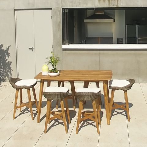 The Excalibur Trinidad Seven-Piece Bar Package is ideal for your outdoor furniture needs, with its designer style and incomparable quality. You'll enjoy casual drinks or alfresco dining with your friends and family in comfort and style with this this stylish and homey bar setting.