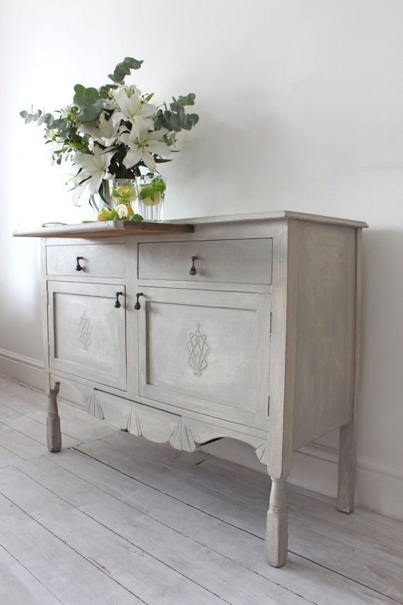Decorative Elegant Annie Sloan Paris Grey Edwardian Sideboard Dining Room Drinks Cabinet Furniture with beautiful carved embellishments