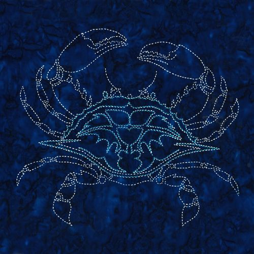 NEW DESIGN! This version of the Crab Sashiko Panel is printed on Robert Kaufman Indigo batik. Includes sashiko instructions. Thread and…