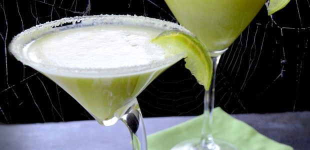 Guest Post: Frankenstein's Key Lime Pie Martini  [pineapple juice, coconut milk, key lime juice, and vanilla extract,  vodka, cubed pineapple, and coconut sugar]