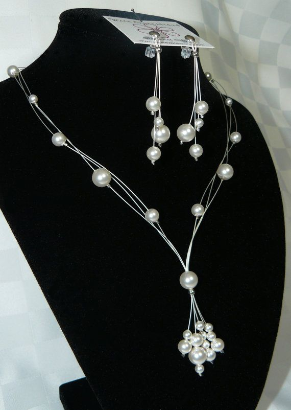 Elegance Floating Pearl Necklace Bridal Jewellery - Swarovski Crystal Wedding Necklace - - Bridal Jewelry on Etsy,   *Designs, Photo's & Intellectual Property are © copyright Wire Expressions™. ALL RIGHTS RESERVED.