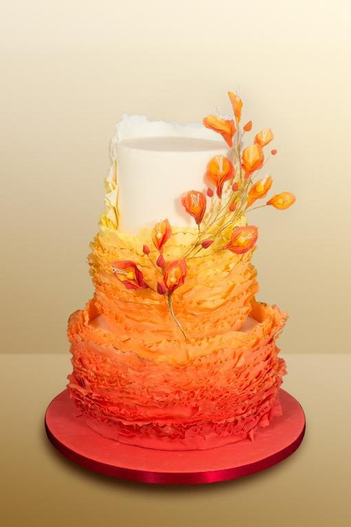 32 Orange & Yellow Fall Wedding Cakes with Maple Leaves , Pumpkins &…