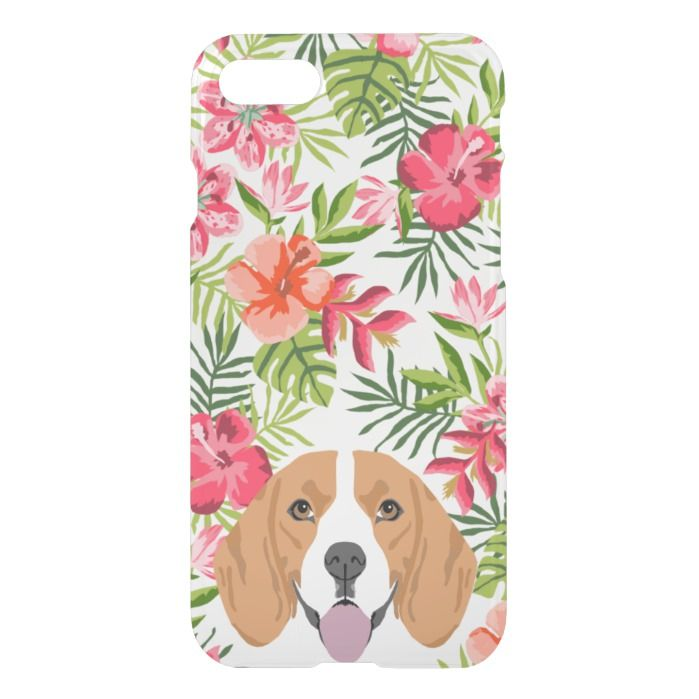 Beagle Dog Clear Case Hawaiian Tropical Florals Beagle Dog