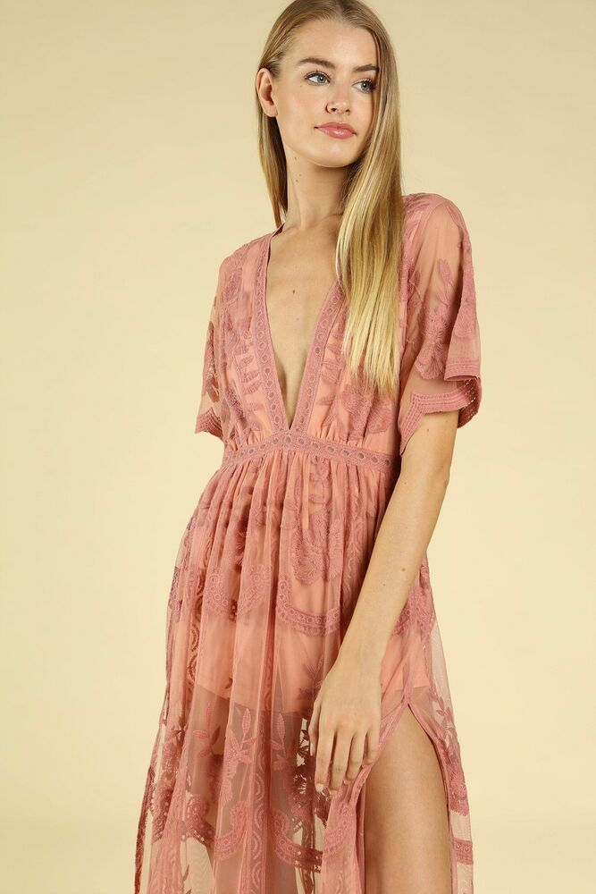4f582adeb990 Wild Punch Ginger Embroidered Lace Romper Maxi Dress. Style  ID5009C-GG   WildPunch  Maxi