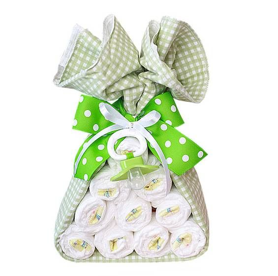 Cute way to give diapers for a baby shower.
