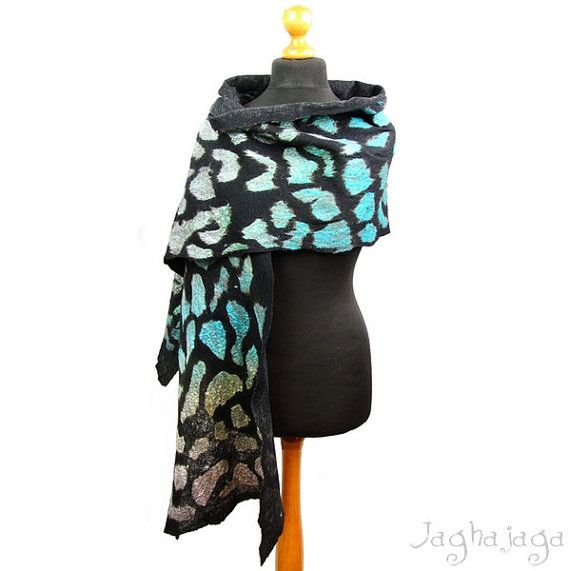 Evening shawl wrap silk scarf handmade shawl nuno by Jaghajaga