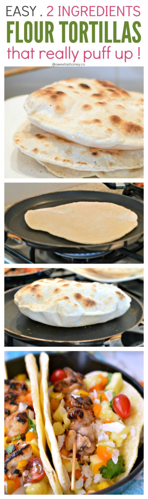Easy Flour tortilla with only 2 ingredients - wholewheat recipe option available - and trick on how to get them puff !