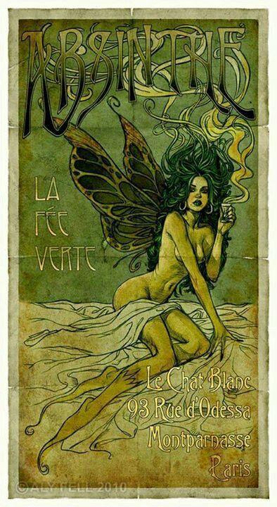 Absinthe art nouveau El hada verde de la absenta busca tu alma...