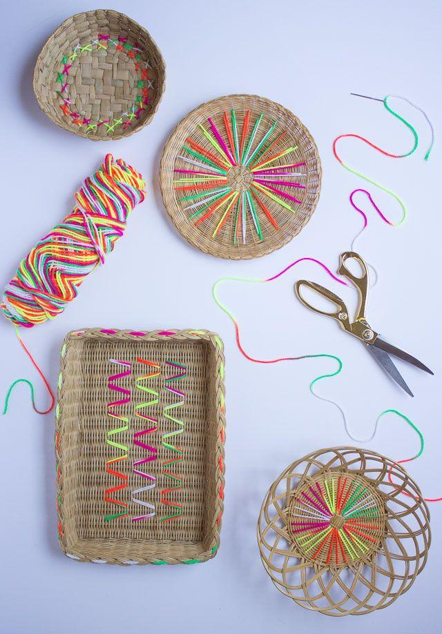 Yarn embroidered baskets - tutorial