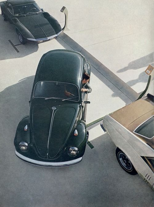 1970 Volkswagen Beetle  In the future, the parkometers will be so cool!