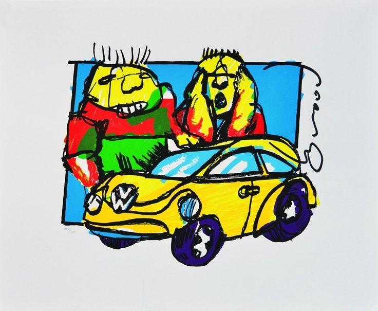 Dit is een: Zeefdruk hand gesigneerd, titel: 'VW-Beetle Herman Brood' kunstwerk vervaardigd door: Herman Brood
