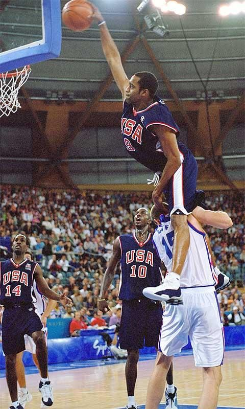 Vince Carter dunking over the top of 7 foot talk Fredrick Vise who was drafted in NBA but after this happened in Olympics he never came to America ~