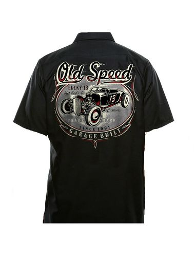 """New Arrival from Lucky 13! This black cotton/poly-blend, stain resistant, shop style , button down work shirt has two front button pockets. Shirt has a full color back graphic of a Lucky 13 hot rod in an oval with """"Old Speed"""" written above with pin-striping detail around the design. Lucky 13 Garage Built Hotrods and Customs. There is an front left chest printed logo as well which reads Old Speed Lucky 13 with Pin-striping."""
