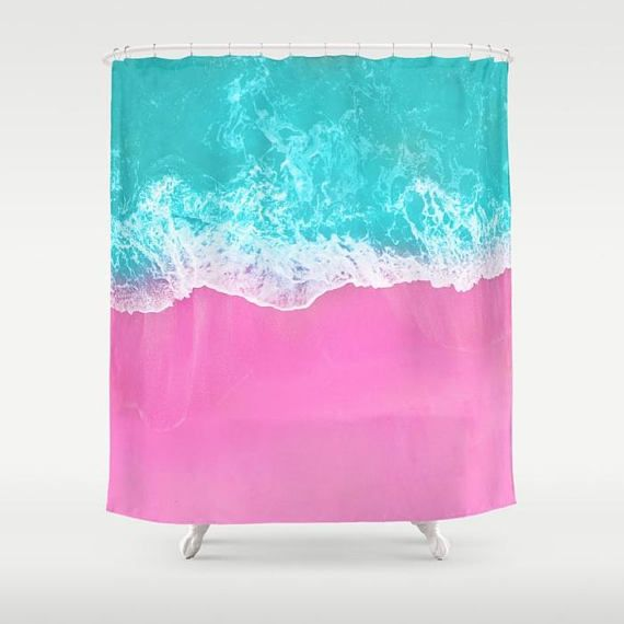 Pink Shower Curtain, Beach Decor, Pink Sand Blue Water, Surf Style, Shore Shower Curtain, Summer Vibes, Ocean Wave, Pink Blue Bathroom
