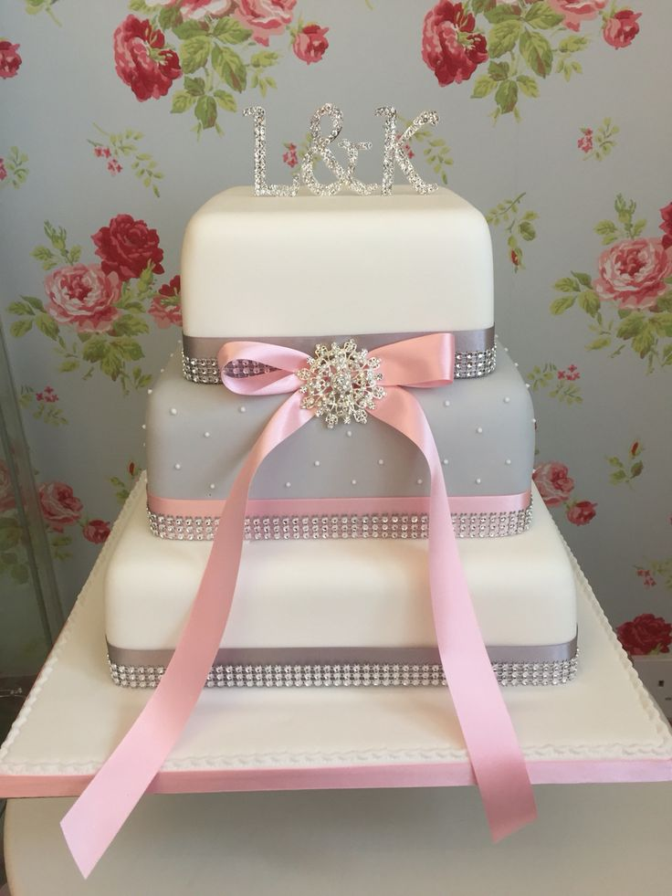 Grey pink and white diamanté wedding cake