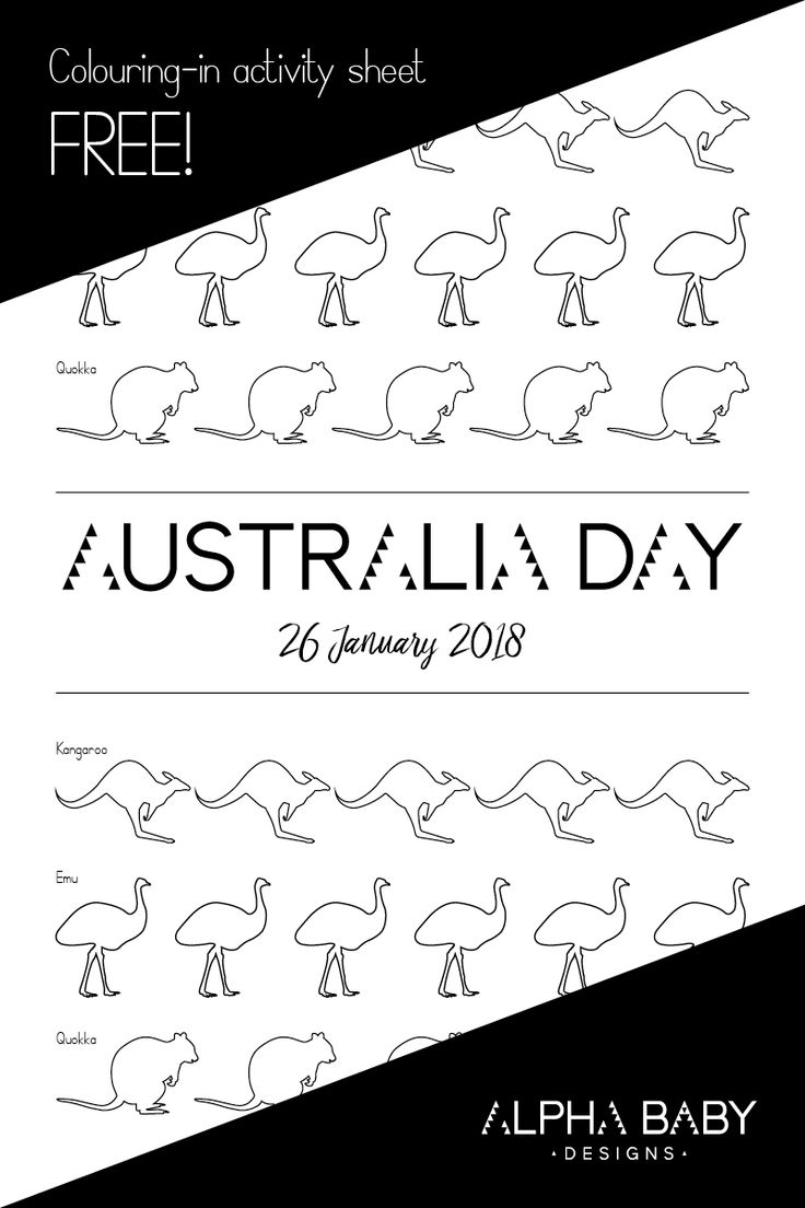 FREE Australia Day colouring in activity sheet for kids featuring our favourite Australian animals the kangaroo, emu and quokka! Instant download, by Alpha Baby Designs. #australiaday #australian #printable #printablesforkids #kidsactivities #kidsart #freeprintables #colouring #drawing #colouringbook #coloring #kids #kidscrafts