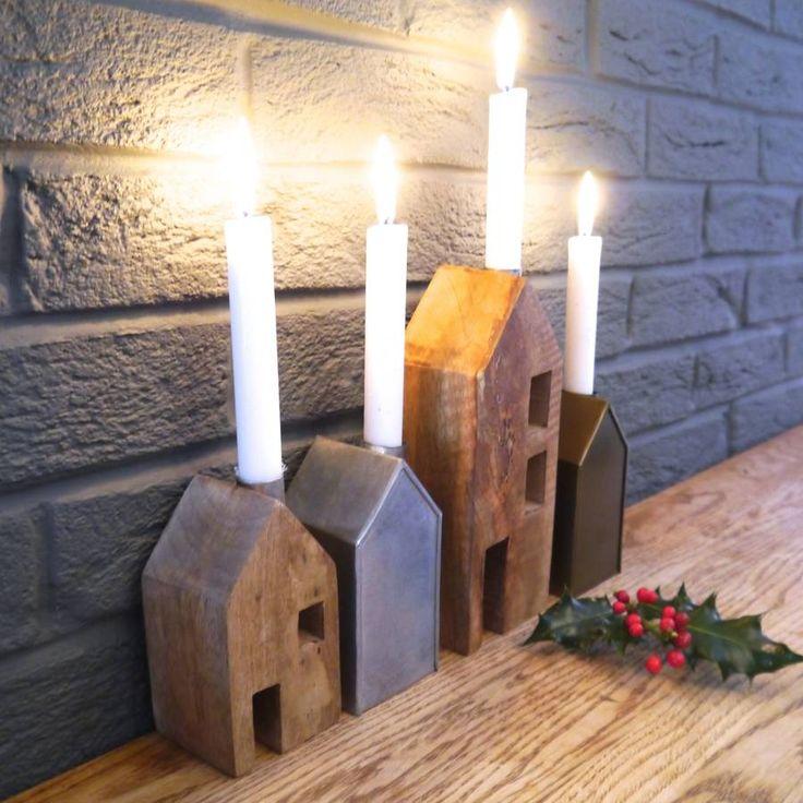 Scandi Block House Candle Holder
