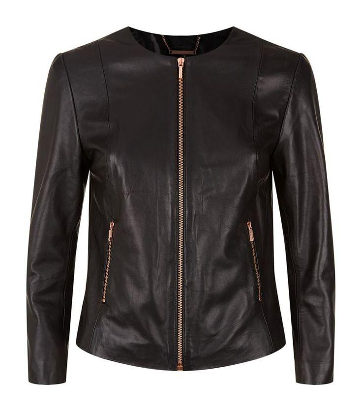 TED BAKER Fai Collarless Leather Jacket. #tedbaker #cloth #