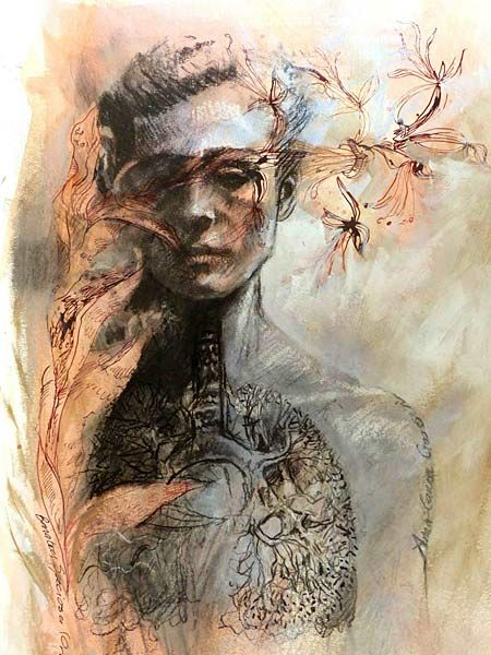 Anna-Carien Goosen, Resuscitate, Mixed media on paper (380 x 520mm) #art   www.art.co.za/anna-cariengoosen.html