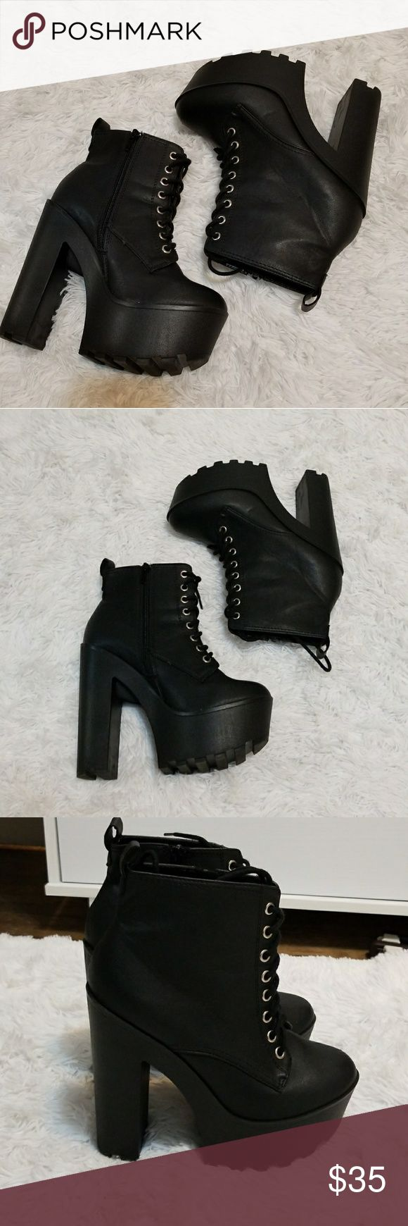 Major platform booties Like new. Cute goth, punk style lace up platform booties. Really cute with maxi skirts and cardigans. Or with leggings and plaid shirts! Very cool!!! Soda Shoes Lace Up Boots